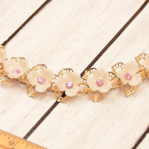 vintage gold flower link bracelet pink rhinestone